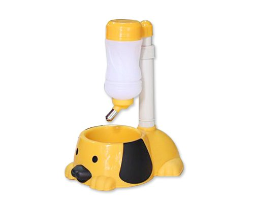 Puppy Style Pet Bowl Feeder With Water Bottle - Yellow front-1045220