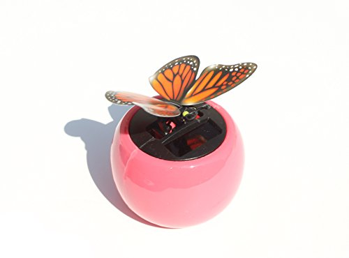 A Flip Flap Wings Dancing Butterfly Flying in a Pink Pot - Bobble Plant Solar Toy - 1