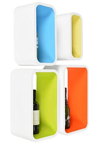 4er-Set-Lounge-Regal-Design-Retro-70er-Cube-Wandregal-Hngeregal-Regalwand-lngliche-Form-in-Wei-Pink-Gelb-Grn-und-Orange