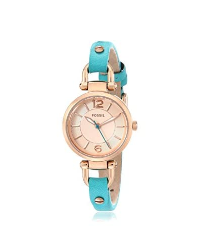 Fossil Women's ES3744 Georgia Rose Gold-Tone Stainless Steel Watch with Blue Leather Band