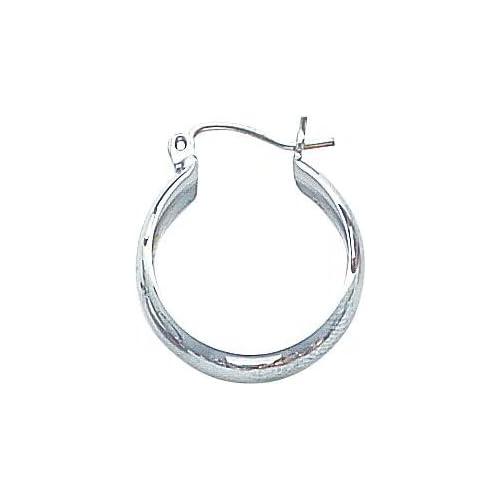 White gold Hoop Earrings Polished Ear Jewelry A Jewelry