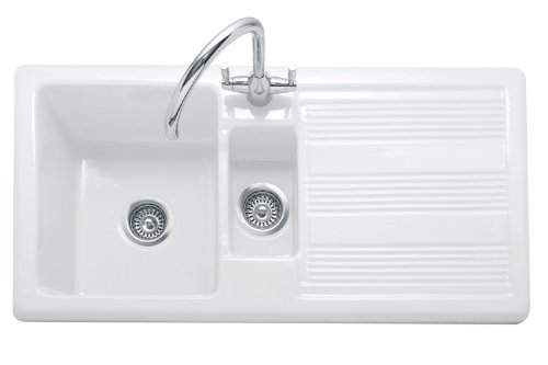 Traditional Rangemaster White Ceramic 1.5 Bowl Kitchen Sink inc wastes and tap