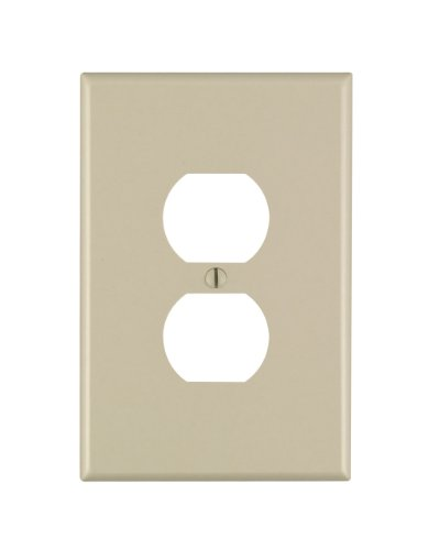 Leviton 86103 1-Gang Duplex Device Receptacle Wallplate, Oversized, Thermoset, Device Mount, Ivory