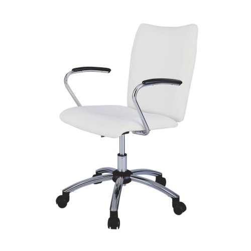 Powell Teen Trends Chrome and Vinyl Swivel Desk Chair, White