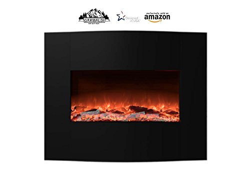 "Garibaldi Heating 35"" Curved Electric Enrage fail Mounted Fireplace w/ Remote - Natural Log Flame Effect & Multiple Heat Settings, Black - USA Seller"