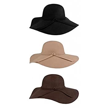 FUNOC Fashion Vintage Women Ladies Floppy Wide Brim Wool Felt Fedora Cloche Hat Cap