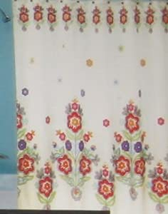 Cynthia Rowley Flowers on White Shower Curtain