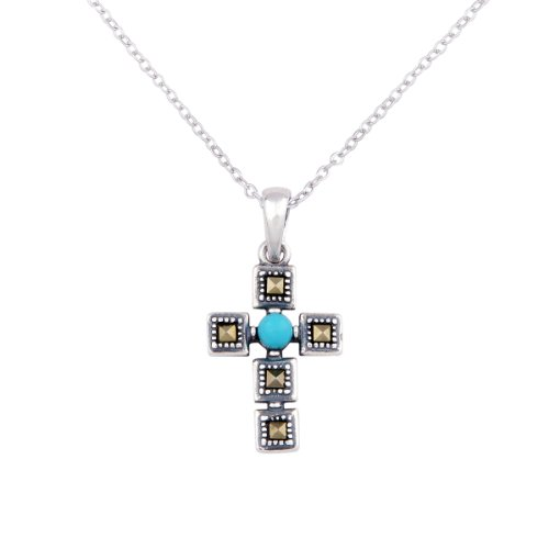 Sterling Silver Synthetic Turquoise Marcasite Cross Pendant Necklace , 18