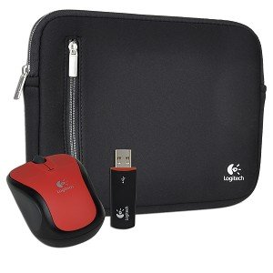 "Logitech V220 3-Button Wireless Notebook Optical Scroll Mouse & Neoprene Netbook Sleeve - Fits up to 10.2"" (Black/Red)"