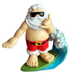 #!Cheap Poly Resin Xmas Ornament / Shaka Surfing Santa