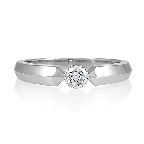 Sterling Silver Round Flush-Set Cubic Zirconia CZ Solitaire Promise Ring - Women's Engagement Wedding Ring Size 9