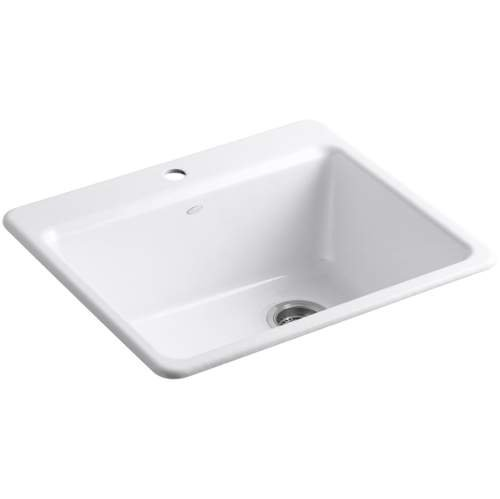 KOHLER K-5872-1A1-0 Riverby Single Bowl Top-Mount Kitchen Sink with Bottom Basin Rack, White (Cast Iron Sinks compare prices)
