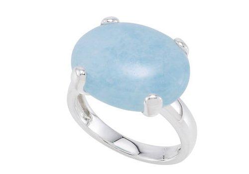 Cabochon Aquamarine 15.65 Carats Sterling Silver Ring