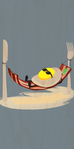 """""""Good Morning"""" Funny Egg Sunny Side Up Relaxing In Bacon Hammock - Plywood Wood Print Poster Wall Art front-821453"""