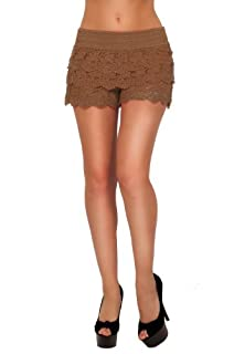 Posh Elegant Sexy Fitted Chic Lace Layered Sophisticated Summer Casual Shorts