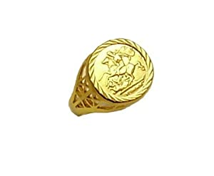 New Ladies Gold Plated Sterling Silver Medallion Ring Size N.