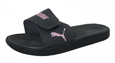Puma Womens Athletic Sport Slides Sandals Flip Flop Thongs Black Light Pink US 7
