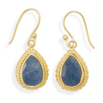 Sterling Silver 14 Karat Gold Plated Rough-Cut Sapphire Earrings