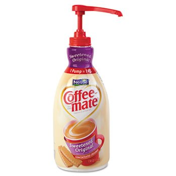 Coffee-Mate® Liquid Coffee Creamer, Sweetened Original, 1500Ml Pump Dispenser front-254428