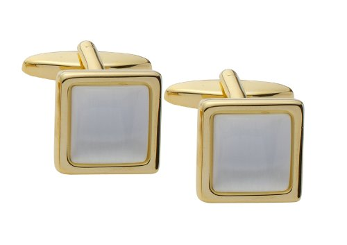 Code Red Gold Plated Cufflinks with White Cats Eye