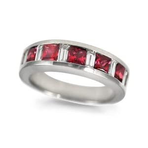 CleverEve's Ruby/Baguette Diamond Ring in 18k White Gold
