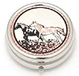 Copper Pill Box – Running Horses, 2″ diameter