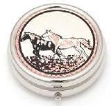 Copper Pill Box – Running Horses, 2″ diameter