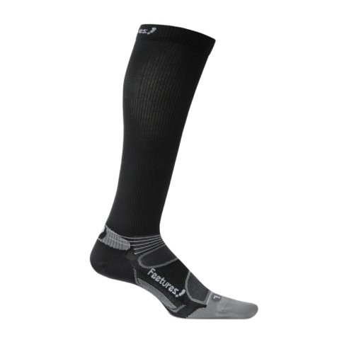 Feetures Socks Feetures Men's Elite Ultra Light Knee Hi Compression Socks, Large (Men's 9-12 / Women's 10-13), Black/Silver
