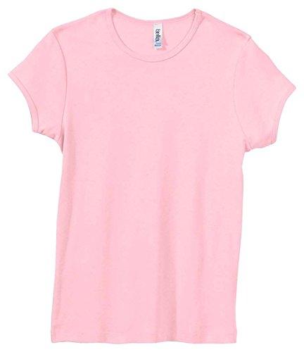 Bella+Canvas Women's Baby Rib Ring-Spun Crewneck T-Shirt, Large, Pink