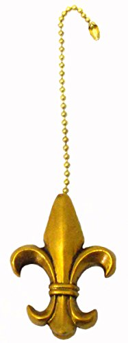 Fleur de Lis Ceiling Fan Pull -Gold Painted Resin - 2.5 Inch (Fleur De Lis Fan Pull compare prices)
