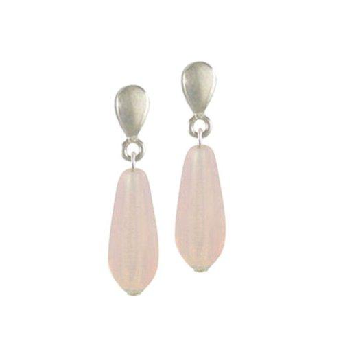 Light Pink Opal Glass Teardrop Silver Clip On Earrings