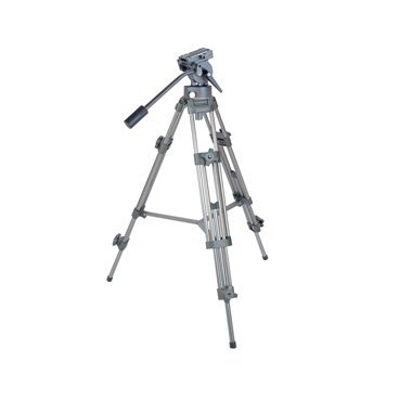 Ex-Pro Heavy Duty Silver Professional Broadcast standard Video Camera Tripod with Pro Fluid Head