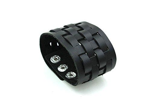 Modern Fantasy Woven Square Stud Embellished Vintage Adjustable Length Durable Leather Wrap Bracelet