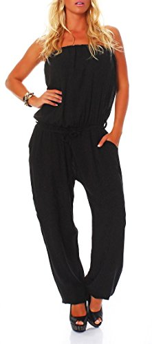 jumpsuit einteiler overall hosenanzug uni farben 4538 damen one size schwarz. Black Bedroom Furniture Sets. Home Design Ideas