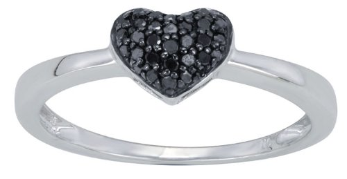 Sterling Silver 0.14cttw Black Diamond Heart Shaped Promise Ring