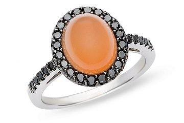 14K White Gold 3/8 ctw Black Diamond and 4 ctw Carnelian Ring with Black Rhodium