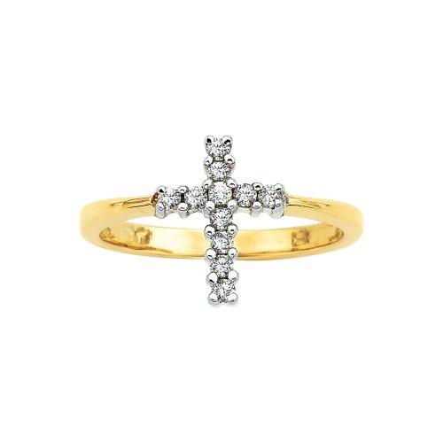 Diamond Cross Ring 10K Yellow Gold 1/5 ct.