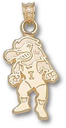 Iowa Hawkeyes Herky Wrestler Pendant - 14KT Gold Jewelry by Logo Art