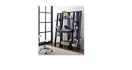 Ladder Bookcase/ Computer Desk with Modern Multiple Open Shelves (Espresso) (Computer Desk Wall Unit compare prices)