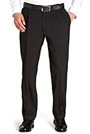 Crease Resistant Twin Pleat Turn-Up Trousers with Active Waistband