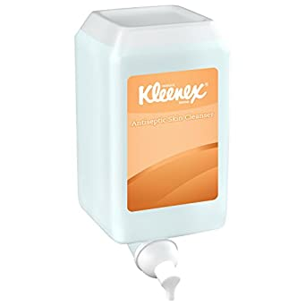 Kleenex E-2 Antiseptic Foam Skin Cleanser (91555), Unscented Soap, Clear, 1.0 L, 6 Packages / Case