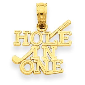 14k Hole in One w/Golf Club Pendant