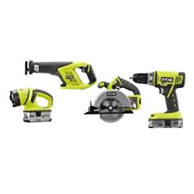Factory-Reconditioned Ryobi ZRP845 18V Lithium-ion 4-Piece Combo Kit