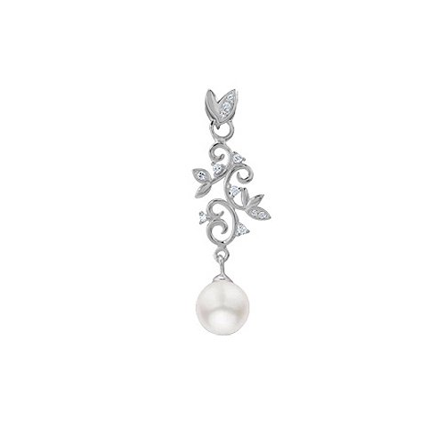 Natural June Birthstone Gift White Pearl & CZ 925 Sterling Silver Vine Pendant