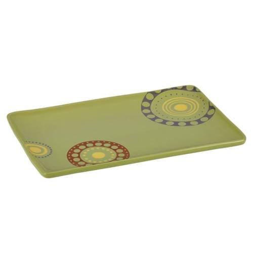 Rachael Ray Circles & Dots Rectangular Platter - Green (12.75