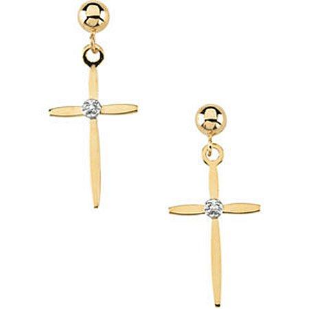 14K Yellow Gold Diamond Dangle Cross Earrings 17 x 11mm