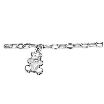 Sterling Silver Teddy Kids Bracelet.Gift Box Included