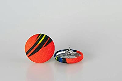 """Fabric button earrings (7/8""""), African fabric button earrings, Ankara fabric button earrings, Fabric Earrings, Button earrings, gifts (Bae)"""