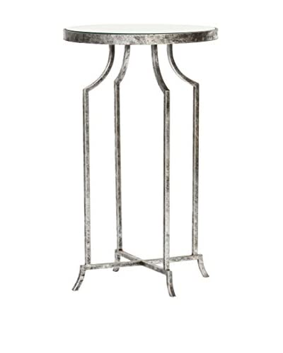 Prima Design Source Round Accent Table, Silver Leaf