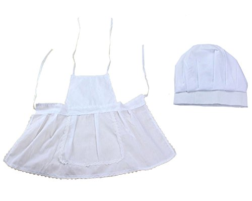 M&G House Newborn Unisex Baby White Cook Chef Costume Photos Photography Prop Hat + Apron Outfit (Baby Cook Outfit compare prices)